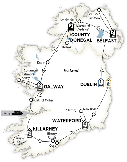 Itinerary map of Amazing Ireland 2018