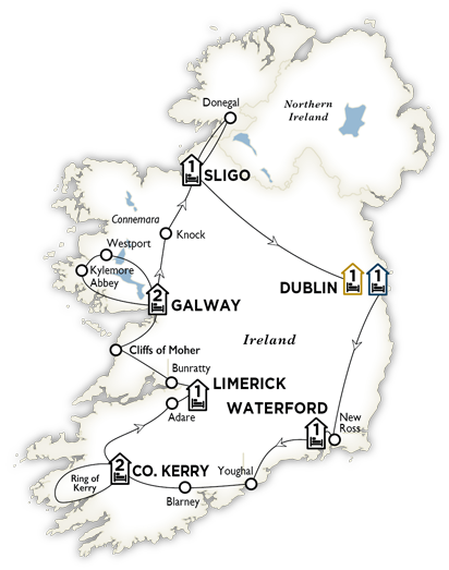 Itinerary map of Best of Ireland 2018