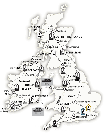 Itinerary map of Britain and Ireland Grandeur Summer 2018