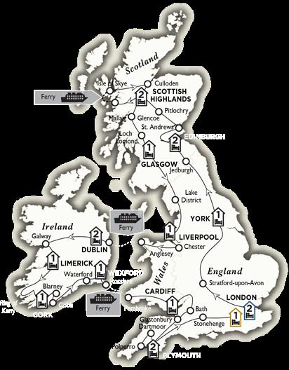 Itinerary map of Britain and Ireland Panorama 2018