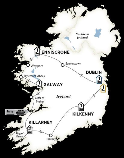 Itinerary map of Enchanting Emerald Isle 2018