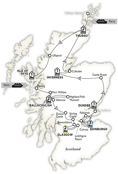 Itinerary map of Highland Trail inspired by Outlander 2018