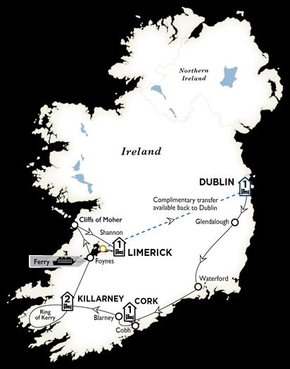 Itinerary map of Treasures of Ireland End Dublin 2018