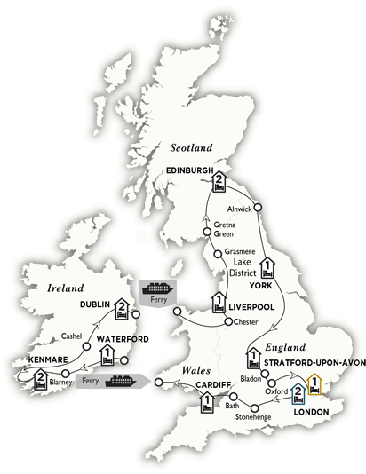 Itinerary map of Wonders of Britain and Ireland 2018
