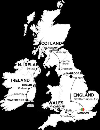Itinerary map of Britain and Ireland Highlights 2018