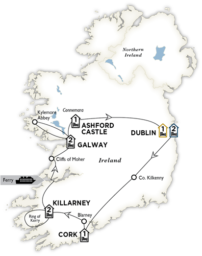 Itinerary map of Iconic Ireland and Ashford Castle 2018